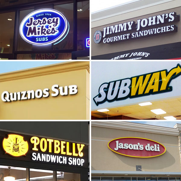 A Few Of The Major Fast Food Sandwich Chains In The Usa
