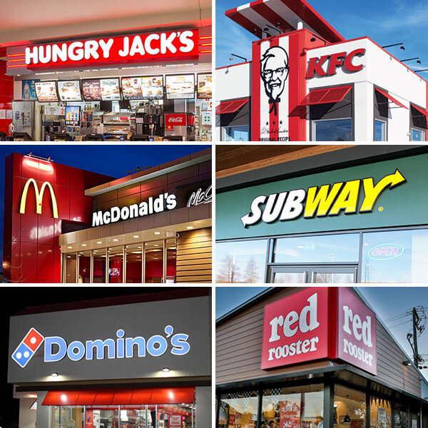A Few Of The Many Fast Food Restaurants In Australia
