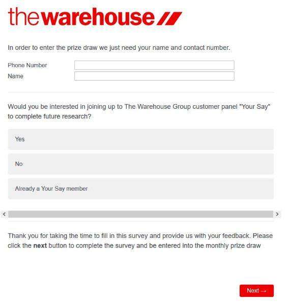 Contact Information For Competition The Warehouse Survey
