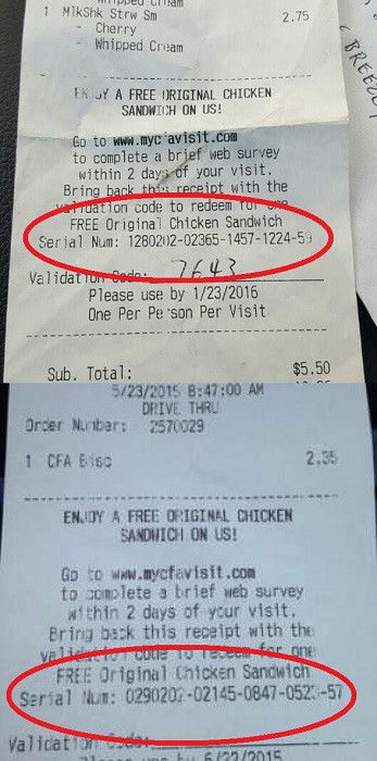 Example Of Serial Numbers On Chick Fil A Receipt For Mycfavisit Survey
