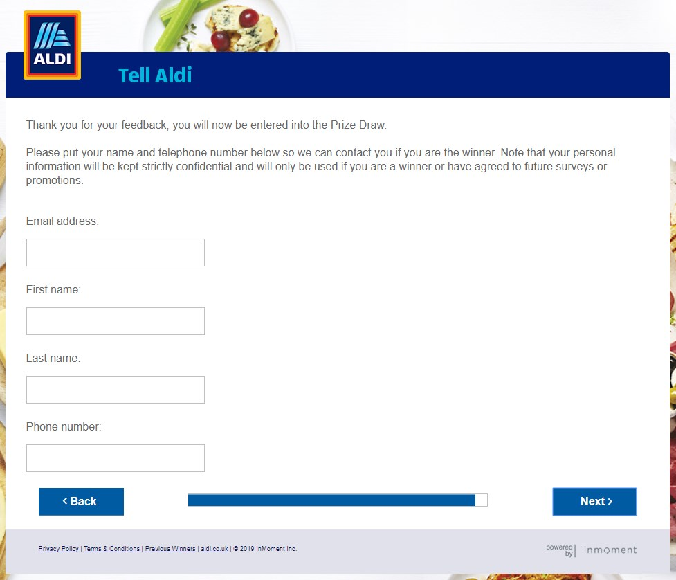 Final Page To Enter Into Aldi Survey Prize Draw