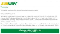 Free Cookie Invitation On Www.subwaylistens.co.uk