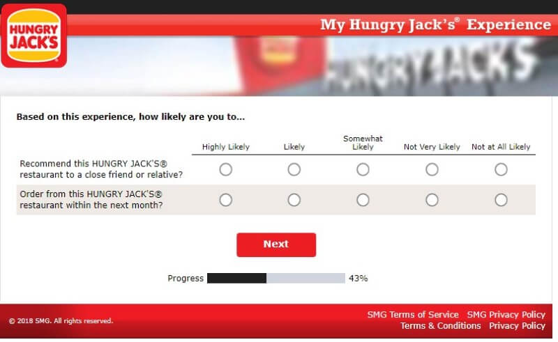 How Likely Is It That You'll Recommend This Hungry Jacks Based On Your Experience