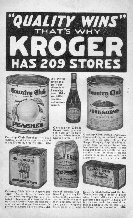 Kroger Advertisement From 1916