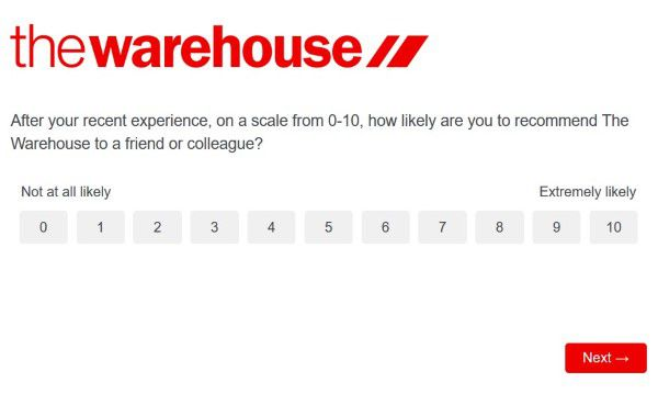 Likelihood Of Recommendation The Warehouse Survey
