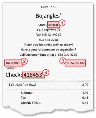 Location Of Information For Bojangleslistens Survey On Receipt