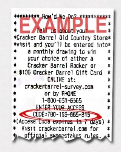 Location Of Information For Cracker Barrel Survey On Receipt