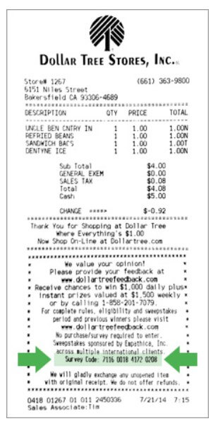 Location Of Information For Dollartreefeedback Survey On Receipt