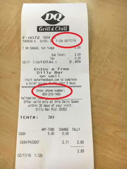 Location Of Information On Dairy Queen Receipt For Dqfanfeedback Survey
