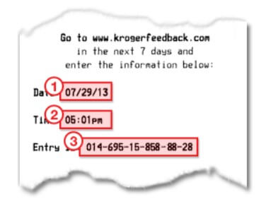 Location Of Information On Receipt For Krogerfeedback Survey