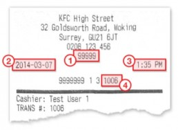 Location Of Information On Receipt For Yourkfc Survey
