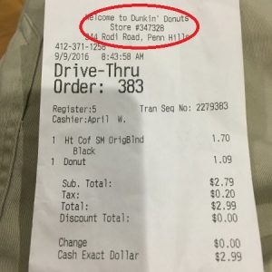 Location Of Store Number On Dunkin Donuts Receipt For Telldunkin Survey