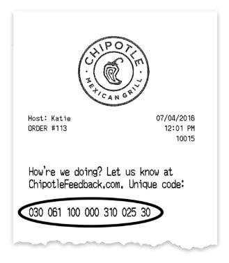 Location Of Survey Code For Chipotle Survey