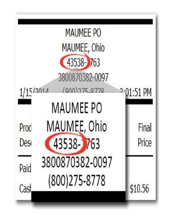 Location Of Zip Code On Postalexperience Receipt