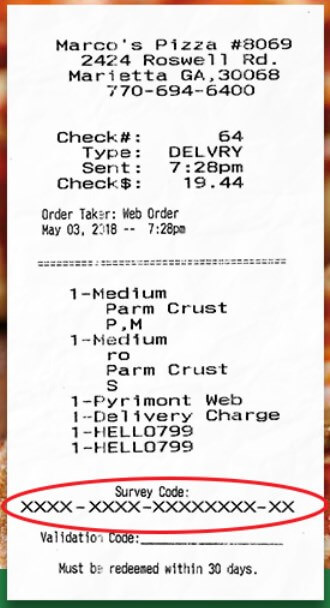 Receipt To Take Marco's Pizza Survey