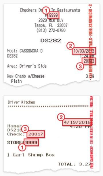 Sameple Receipt From Checkers And Rallys Guestobsessed Survey