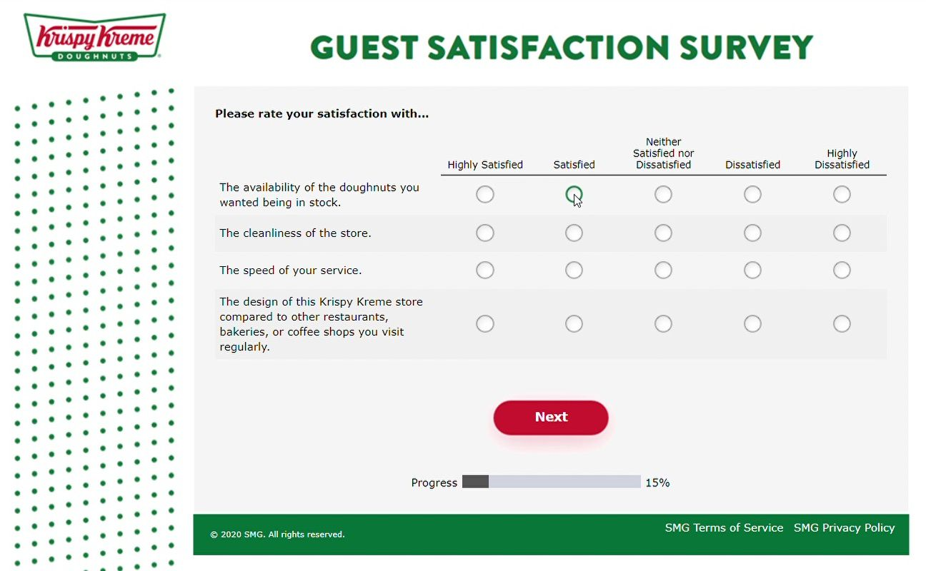 Satisfaction Ratings On Krispykremelistens Survey