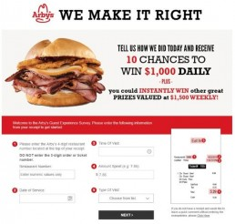 Screenshot Of Arby's Survey 2