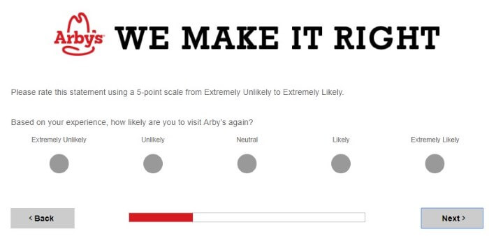 Screenshot Of Arby's Survey 5