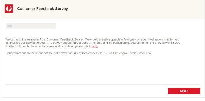 Screenshot Of Auspost Survey 1