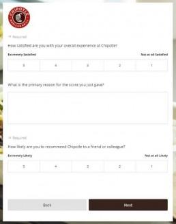 Screenshot Of Chipotlefeedback.com Survey 1