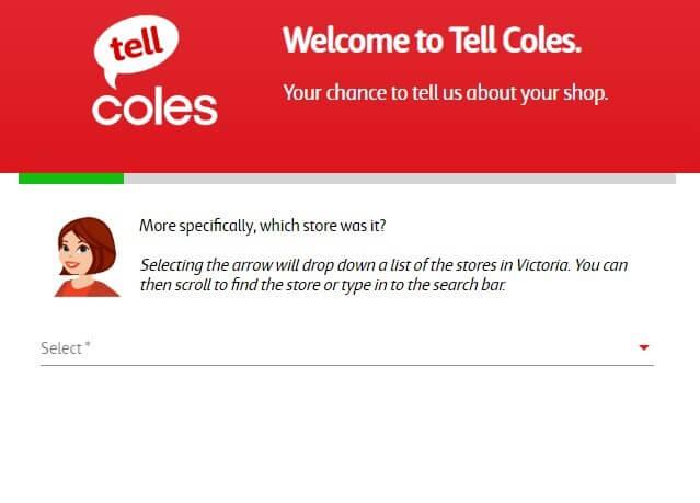 Screenshot Of Coles Survey 2