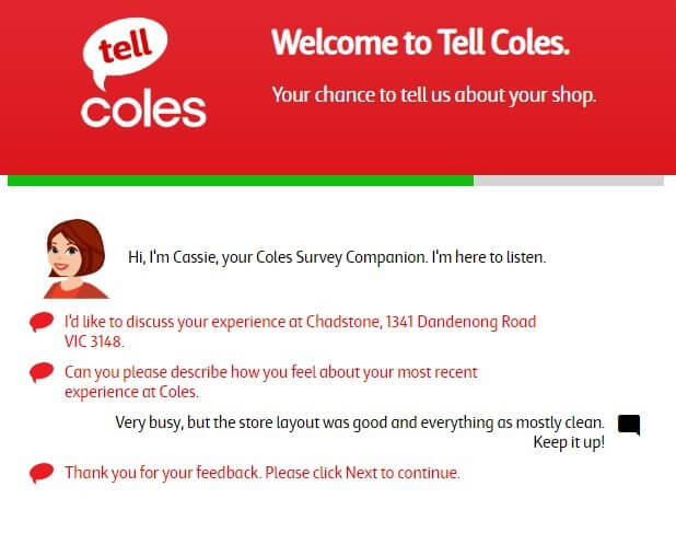 Screenshot Of Coles Survey 6