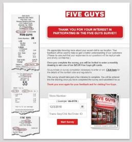 Screenshot Of Five Guys Survey 1