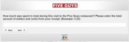 Screenshot Of Five Guys Survey 7