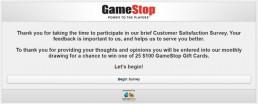 Screenshot Of Gamestop's Survey 1