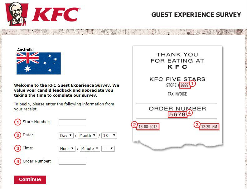 Screenshot Of Kfc 's Feedback Website In Australia