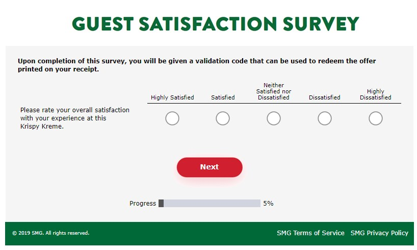 Screenshot Of Mykrispykremeexperience.com.ph Survey 1