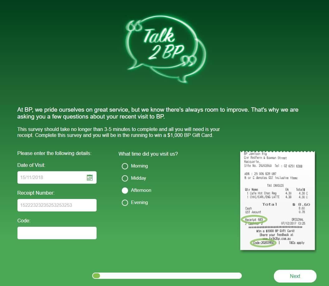 Screenshot Of Survey On Www.talk2bp.com.au