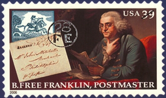 The First Post Master Of The Us Benjamin Franklin