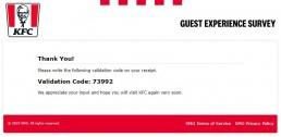 Validation Code For Survey Reward At Www.yourkfc.co.uk