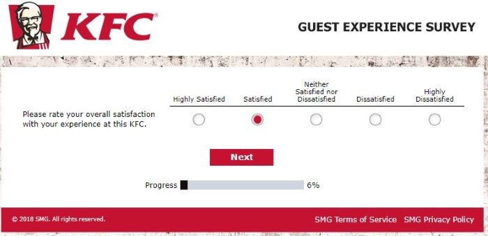 What Was Your Overall Satisfaction Rating At This Kfc Feedback