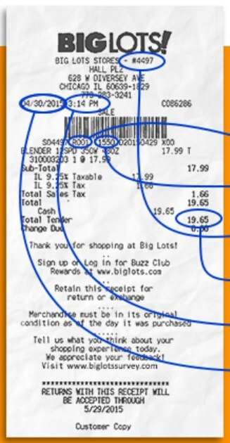 Where You Can Find The Information On The Receipt For Big Lots Survey